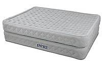 Двухспальная велюровая надувная кровать Intex 64464, со встроенным насосом 220V, 203 х 152 х 51