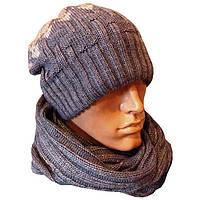 Вязаная мужская шапка носок (утепленный вариант) и шарф снуд с орнаментом