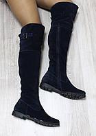 Демисезонные натуральные замшевые сапоги-ботфорты темно-синие