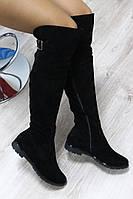 Демисезонные женские натуральные замшевые сапоги-ботфорты черные