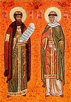 Иконы из янтаря Святые Петр и Феврония
