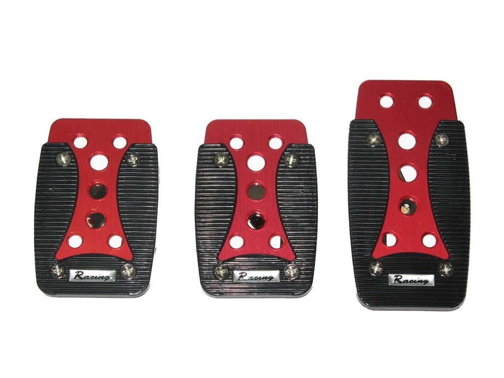Тюнинг накладки на педали авто автомобиля универсальные XB-389 red/black