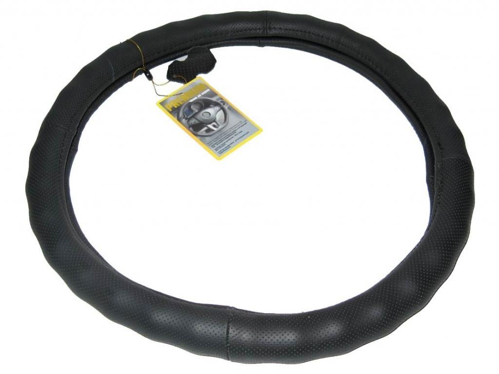 Кожаная оплетка чехол на руль размер S (35-37 см) кожа VL-6023 BK черная перфорир. (авто автомобиля)