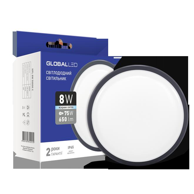 Светодиодный светильник GLOBAL HPL 8W 5000K круг ЖКХ