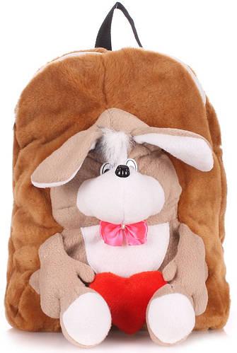 Коричневый плюшевый детский рюкзак  с собакой POOLPARTY kiddy-backpack-dog-brown