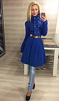 Элегантное женское кашемировое пальто с расклешенным низ и красивым поясом, электрик