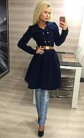 Элегантное женское кашемировое пальто с расклешенным низ и красивым поясом, темно синее