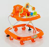 Детские ходунки музыкальная панель тормоз оранжевые Joy