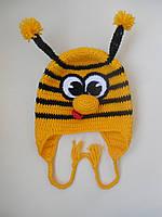 """Детские вязаная шапка """"Пчелка"""" ручной работы"""