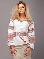 Вышиванка женская с поясом, коричневый орнамент, фото 1