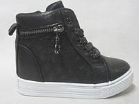 Ботинки черные для девочек оптом 25/30 ростовка 12 пар.