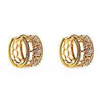 Xuping. Модные серьги круглые золотого цвета со вставками из страз и круглыми узорами сзади