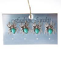 [20 мм] Серьги женские набор 4 шт с камнем из голубой бирюзы с прожилками паучки