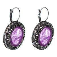 [25 мм] Серьги женские с камнем из фиолетового аметиста