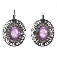 [30 мм] Серьги женские с камнем из фиолетового аметиста