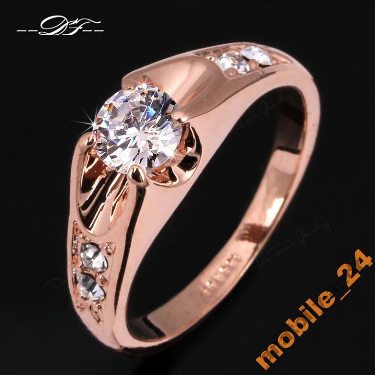 Кольцо с цирконами 18K покрытие золотом