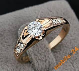 Кольцо с цирконами 18K покрытие золотом, фото 2