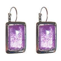[20 мм] Серьги женские с камнем из фиолетового аметиста