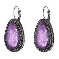 [35 мм] Серьги женские с камнем из фиолетового аметиста