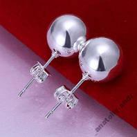 Серьги гвоздики 10mm Bead Earring Серебро 925, фото 1