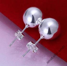 Серьги гвоздики 10mm Bead Earring Серебро 925