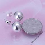 Серьги гвоздики 10mm Bead Earring Серебро 925, фото 3