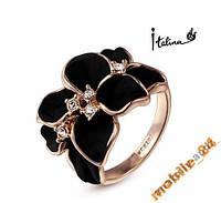 Кольцо Black Flower покрытие золотом 18 карат