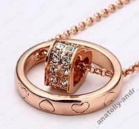 Подвеска с цепочкой Сердце в кольце 18К золото, фото 1