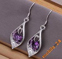Серьги Purple Stone Shell Серебро 925 проба, фото 1