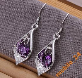 Серьги Purple Stone Shell Серебро 925 проба