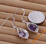 Серьги Purple Stone Shell Серебро 925 проба, фото 2