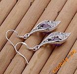 Серьги Purple Stone Shell Серебро 925 проба, фото 3