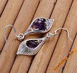 Серьги Purple Stone Shell Серебро 925 проба, фото 4