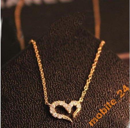 Подвеска сердце с камнями (цвет silver)