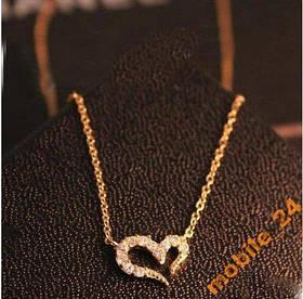 Підвіска серце з камінням (колір silver)
