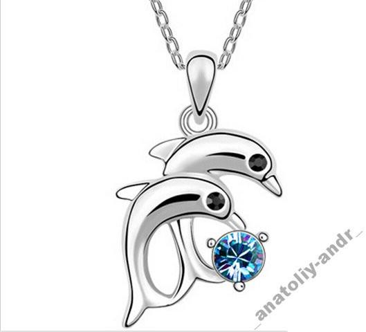 Кулон Дельфины с цепочкой