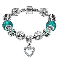 Браслет Pandora Пандора Heart Charm Beads Silver