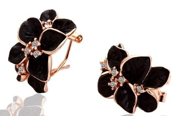 Серьги Black Flower