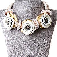 [45 мм] Ожерелье 3 розы текстиль сплав эмаль GOLD
