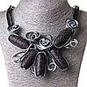 [20-45 мм] Ожерелье каменные плоды кожзам бордовый серый Silver
