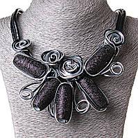 [20-45 мм] Ожерелье каменные плоды кожзам бордовый серый Silver, фото 1