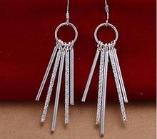 Стильные длинные серьги Покрытие серебром