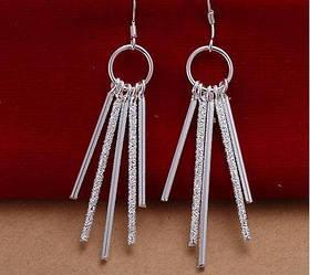 Стильні довгі сережки Покриття сріблом