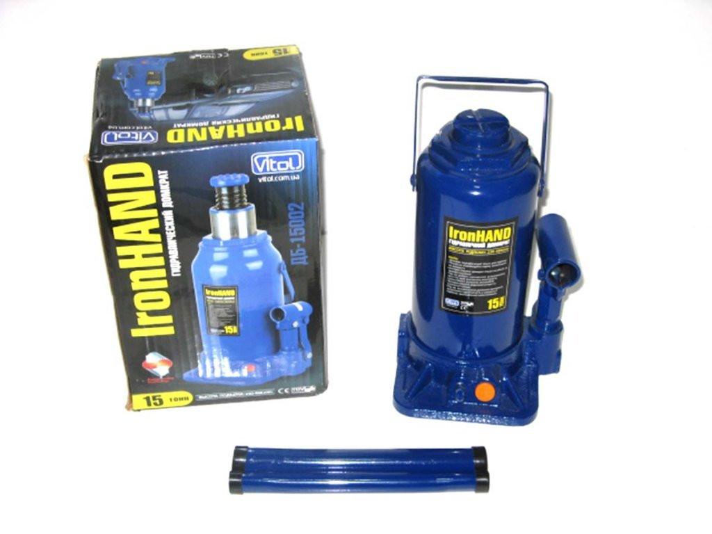 Домкрат гидравличесский бутылка 15т выс 460мм Iron Hand