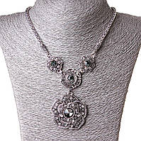 [20-45 мм] Ожерелье жгут с масивной подвеской Сказочный Букет стекло Silver