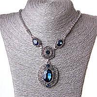 [20-50 мм] Ожерелье жгут с  подвеской Сапфировый амулет стекло страза Silver синий