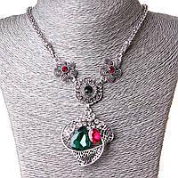 [20-50 мм] Ожерелье жгут Дивные Цветы стекло страза Silver, фото 1