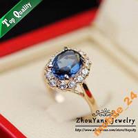 Кольцо Austrian Blue Crystal 18K покрытие золотом., фото 1