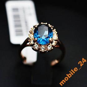 Кольцо Austrian Blue Crystal 18K покрытие золотом.
