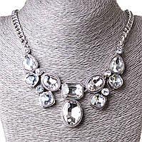 [10-25 мм] Ожерелье Гронка белые камни Silver белый, фото 1